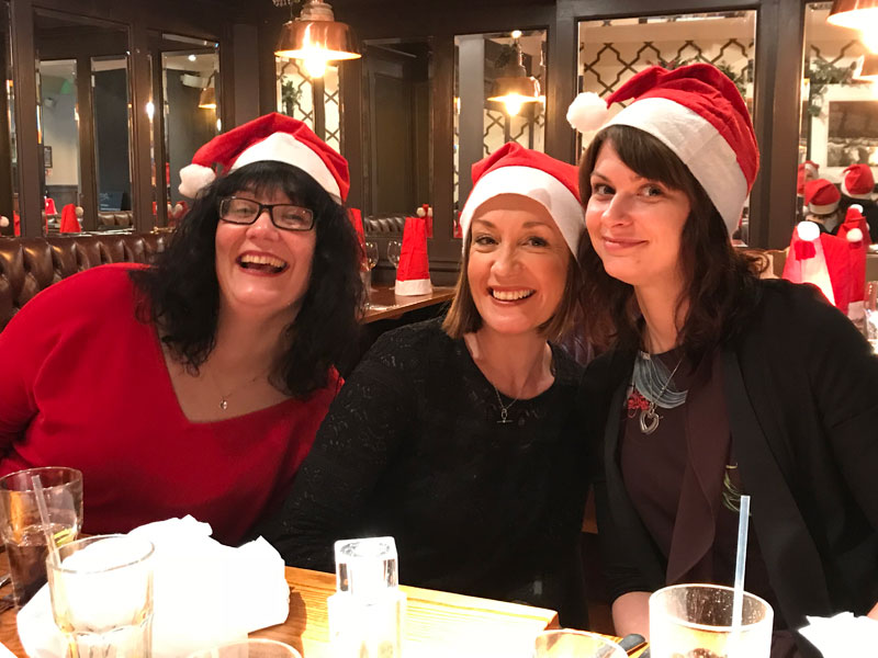 Anne, Sophie & Laurel at the Christmas Meal