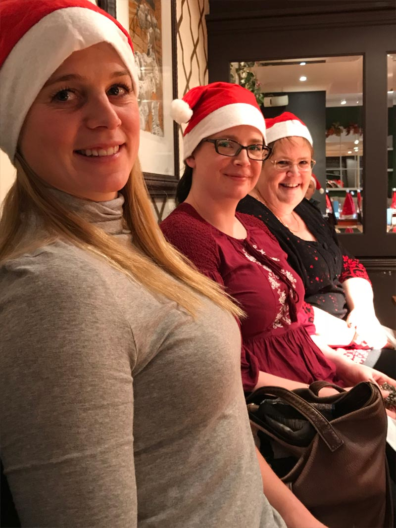 Tessa, Victoria & Marion at the Christmas Meal