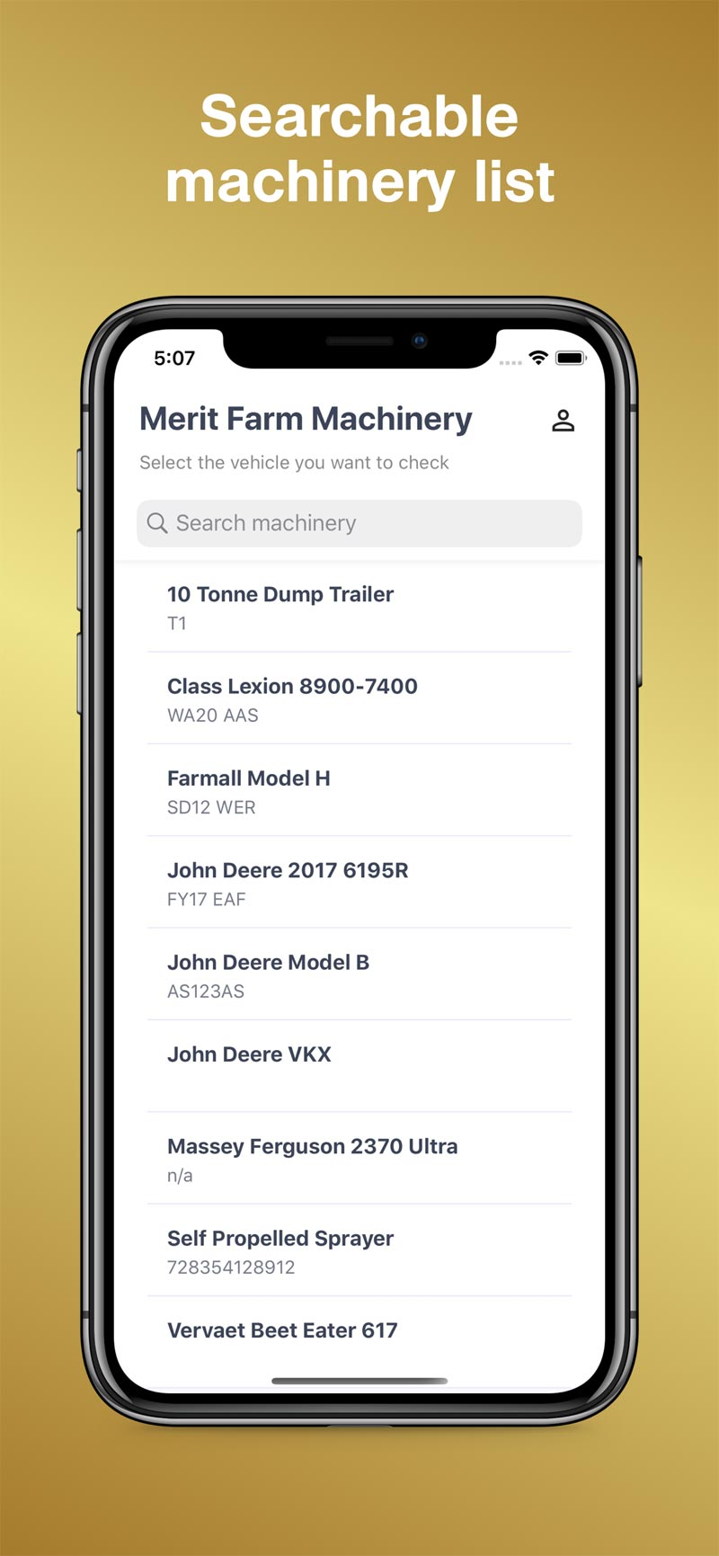 Searchable Machinery List - MeritAgCheck App