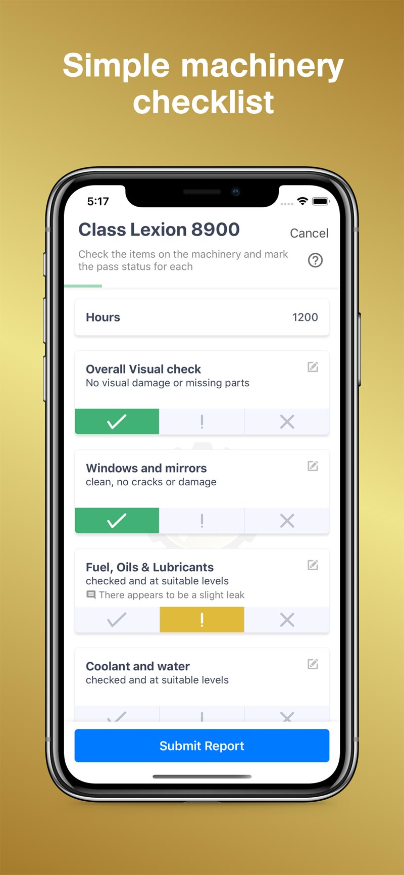 Simple Machinery Checklist - MeritAgCheck App